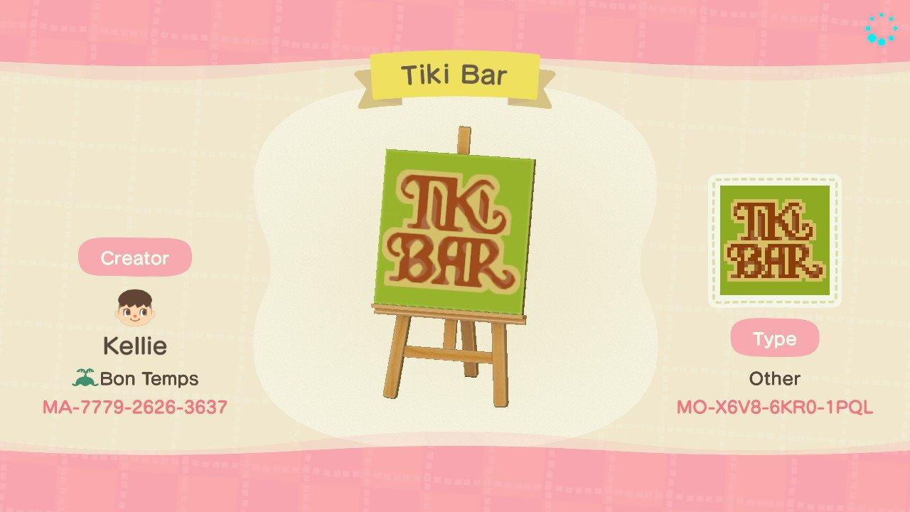 Tiki Bar Sign - Animal Crossing: New Horizons Custom Design