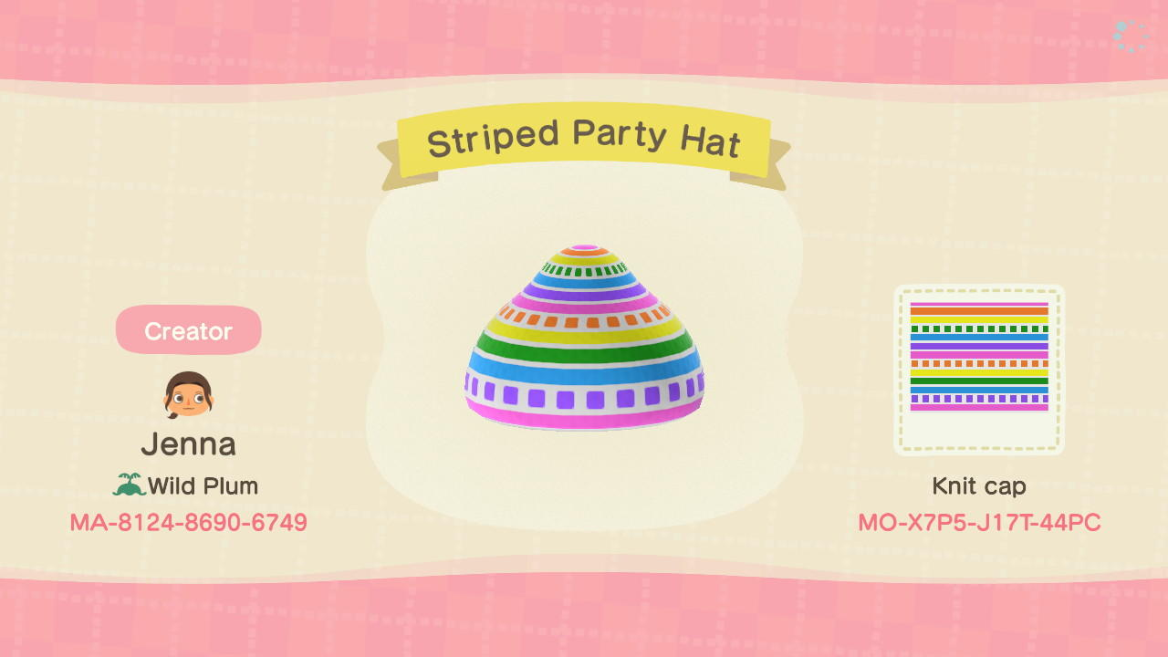 Striped Party Hat - Animal Crossing: New Horizons Custom Design