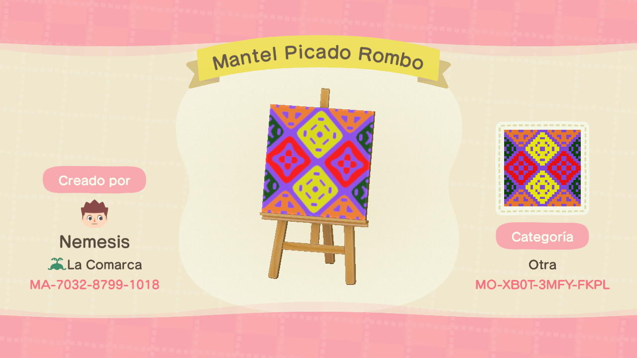 Mantel Picado Rombo - Animal Crossing: New Horizons Custom Design