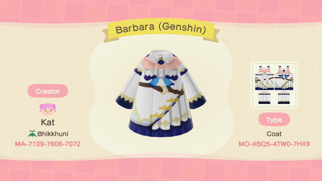 Barbara (Genshin) - Animal Crossing: New Horizons Custom Design