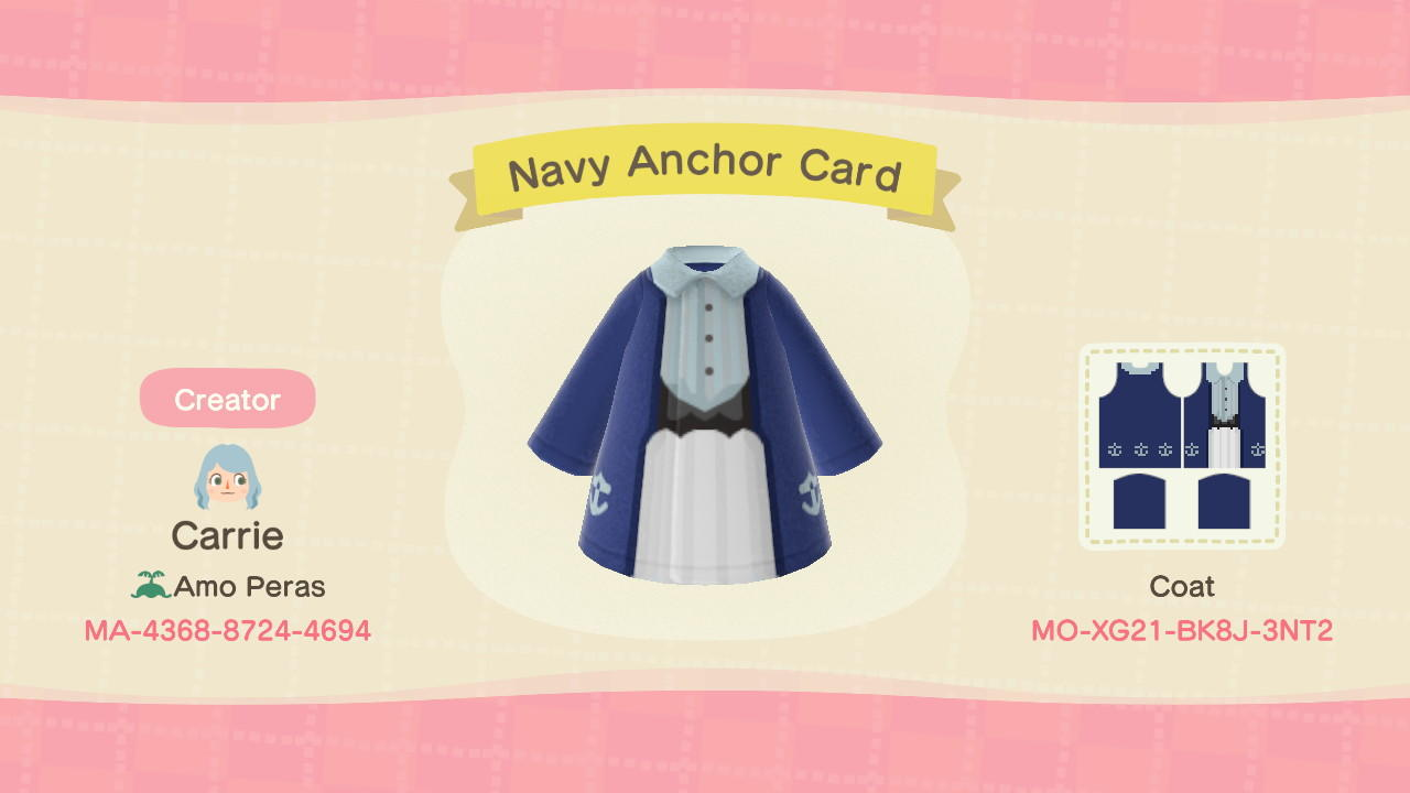 Navy Anchor Card - Animal Crossing: New Horizons Custom Design