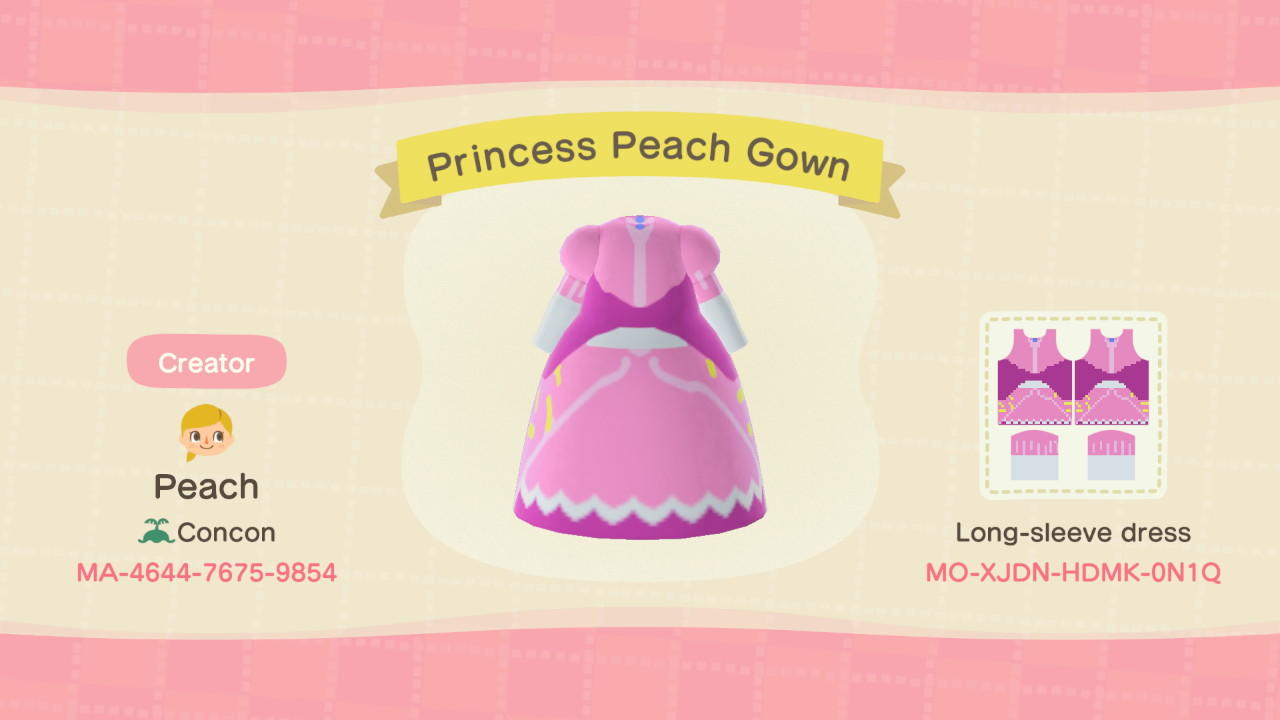 Princess Peach Gown - Animal Crossing: New Horizons Custom Design