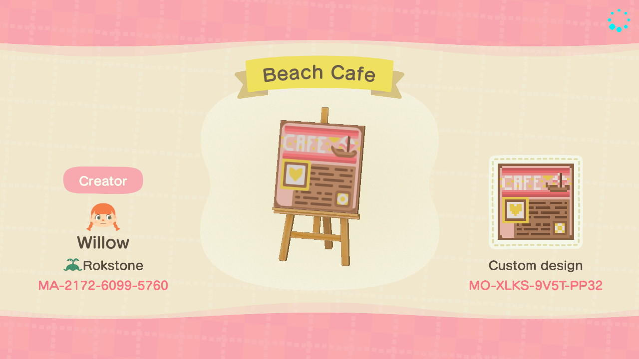 Beach Cafe Sign - Animal Crossing: New Horizons Custom Design