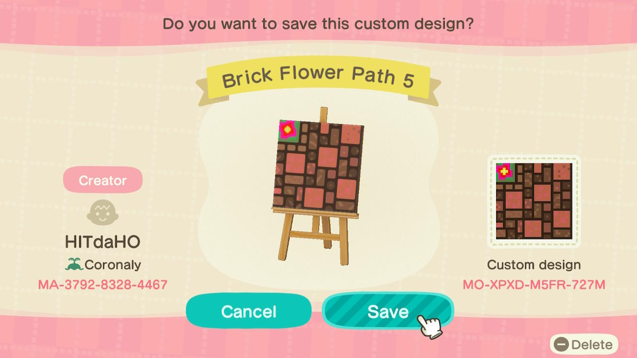 Brick Flower Path 5 - Animal Crossing: New Horizons Custom Design