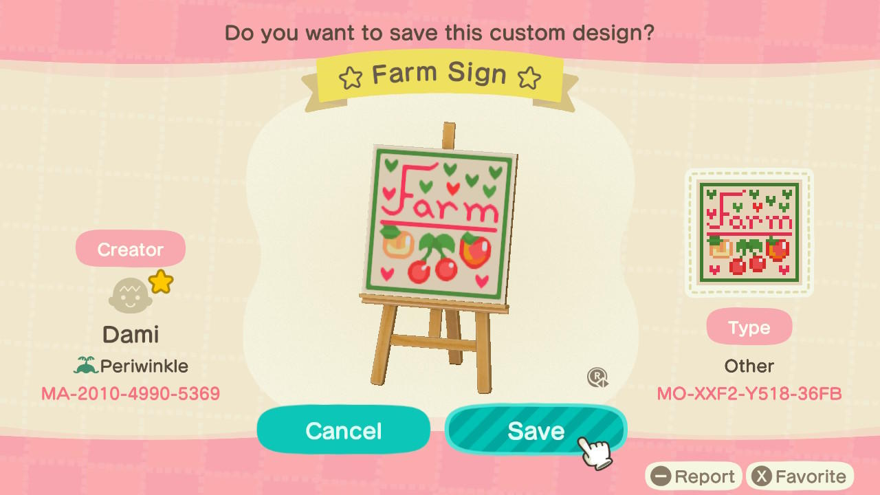 Fruit Farm Sign - Animal Crossing: New Horizons Custom Design