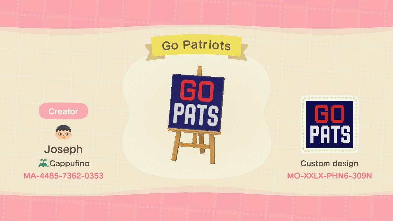 Go Patriots - Animal Crossing: New Horizons Custom Design