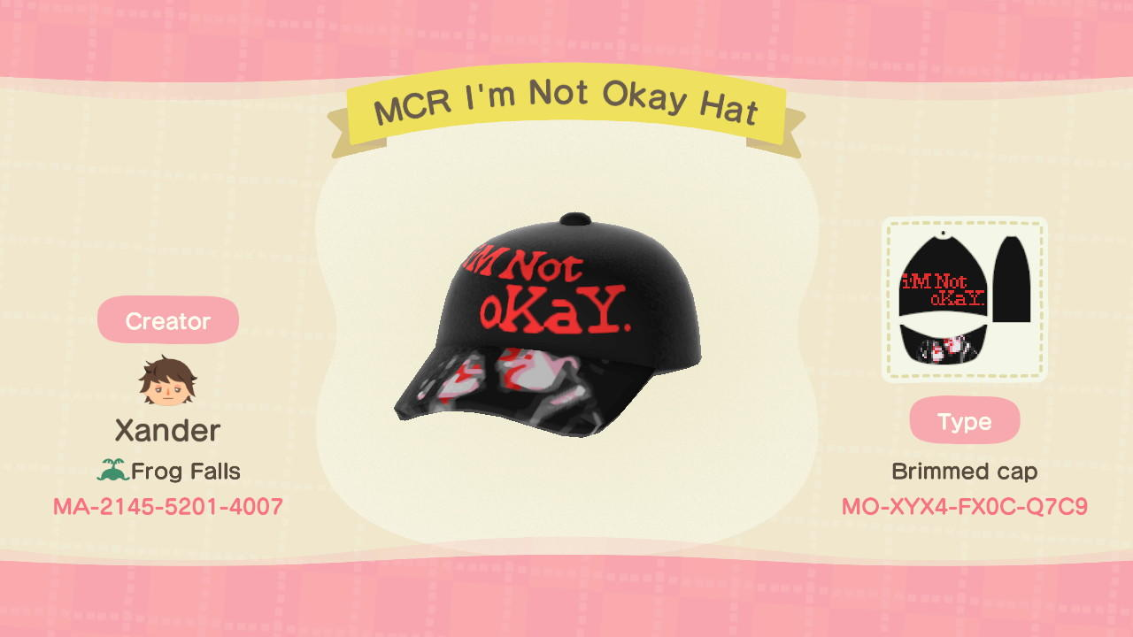 MCR I'm Not Okay Hat - Animal Crossing: New Horizons Custom Design