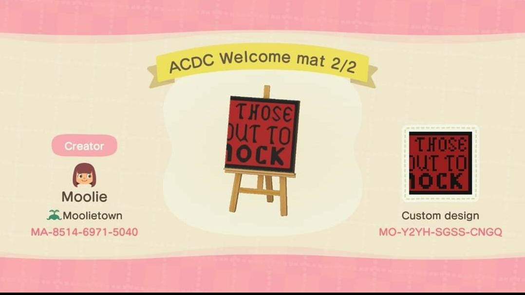 ACDC Welcome mat 2/2 - Animal Crossing: New Horizons Custom Design