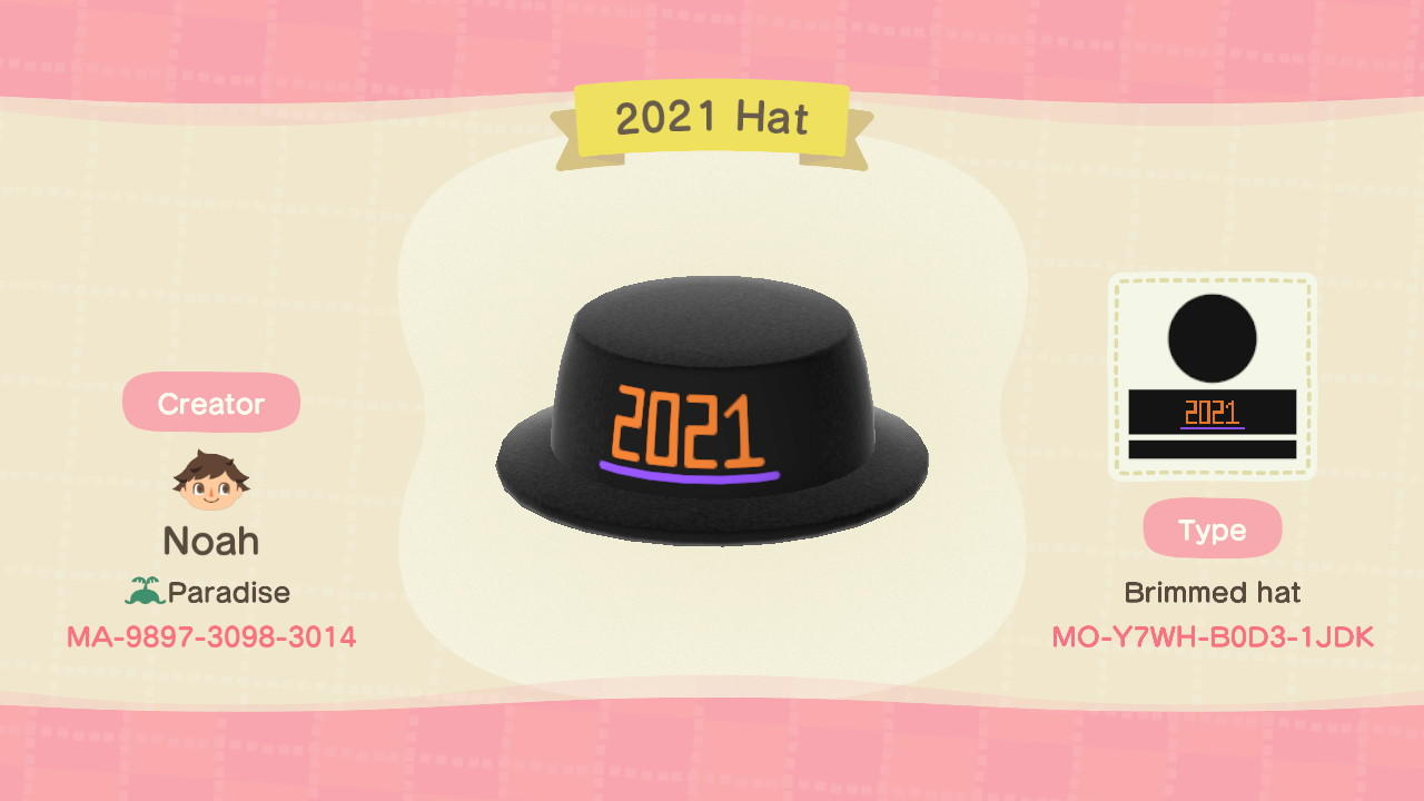 2021 Hat - Animal Crossing: New Horizons Custom Design