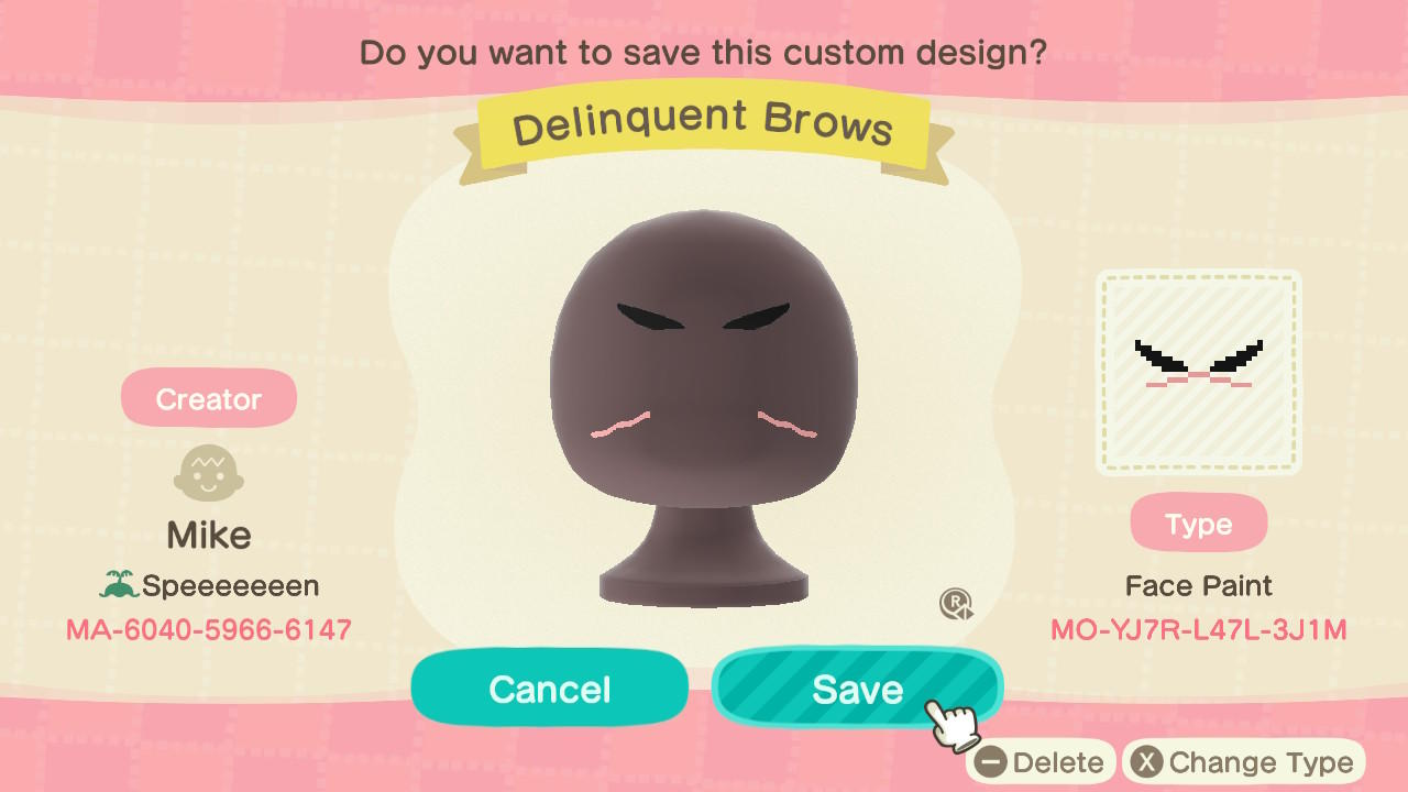 Delinquent Brows - Animal Crossing: New Horizons Custom Design
