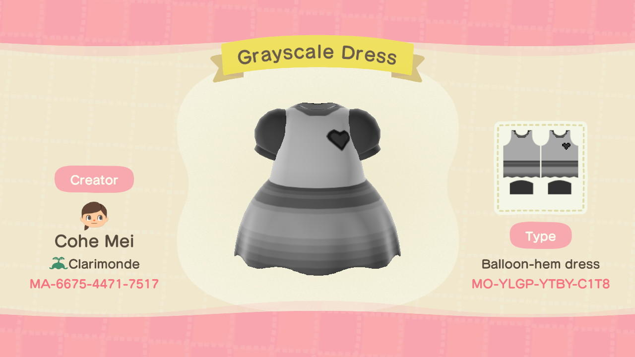 Grayscale Dress - Animal Crossing: New Horizons Custom Design
